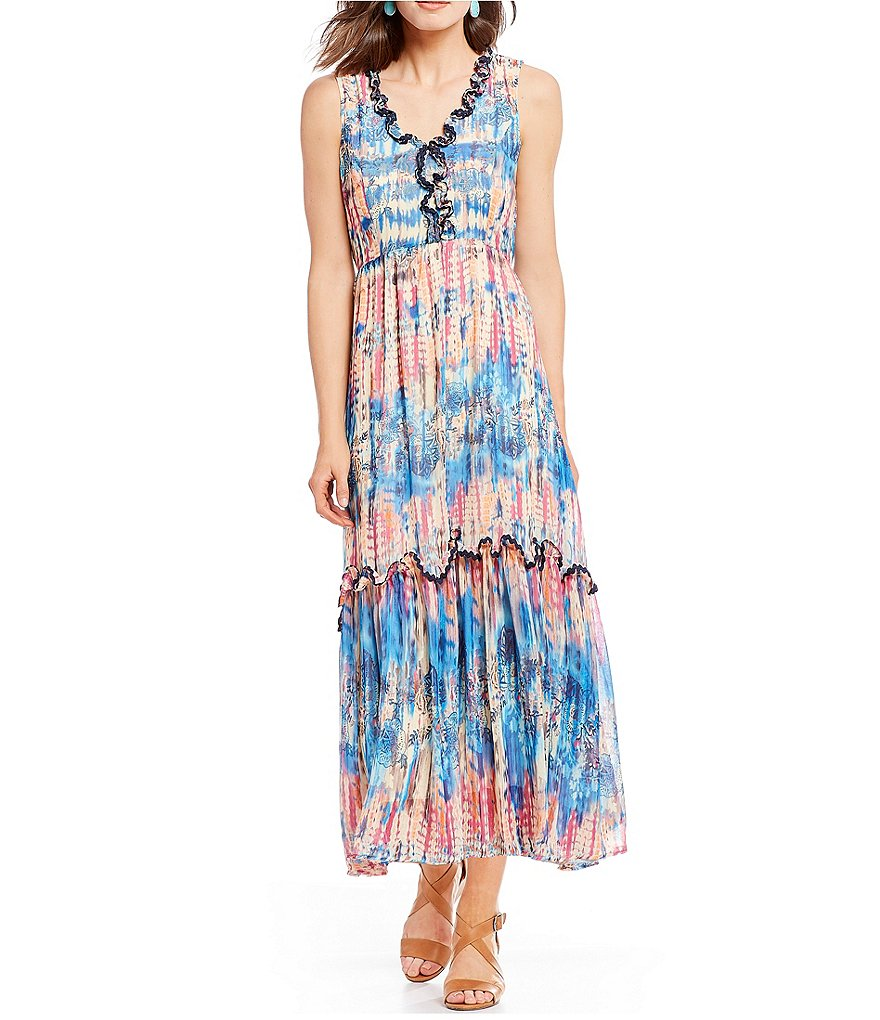 Reba Tie-Dye Chiffon Ruffle Trim Maxi Dress