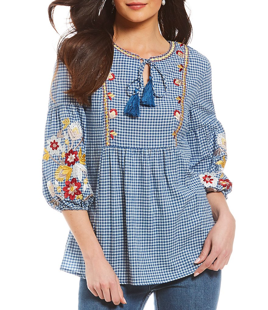 Reba Tie Front Floral Embroidered Gingham Blouse