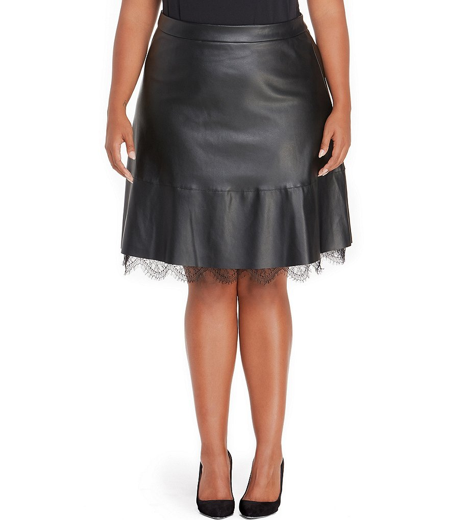 Rebel Wilson X Angels Plus A-line Lace Trim Pleather Skirt