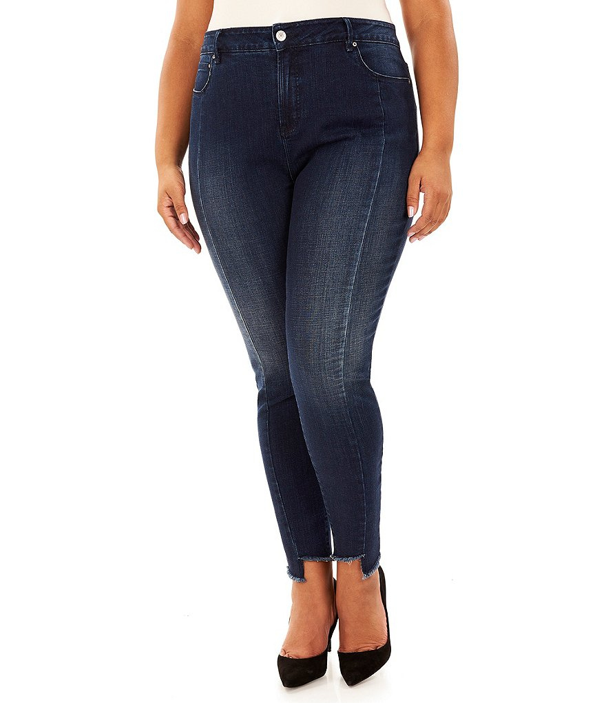 Rebel Wilson X Angels Plus The Looker Mid Rise Raw Frayed Step Hem Ankle Skinny Jeans