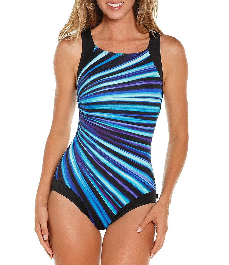 Reebok Depth Defy High Neck Chlorine Resistant Tummy Control One Piece Swimsuit