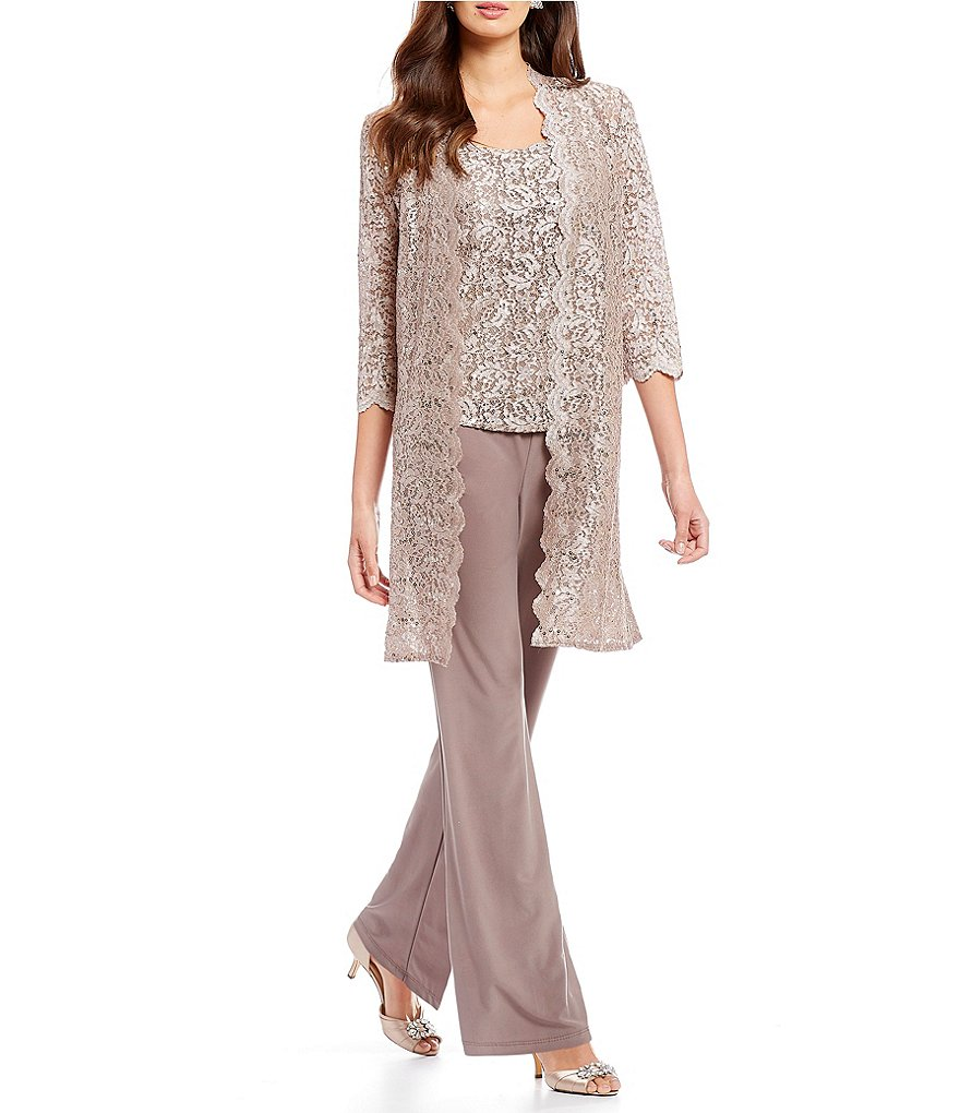 R&M Richards 3-Piece Scallop Lace Duster Pant Set