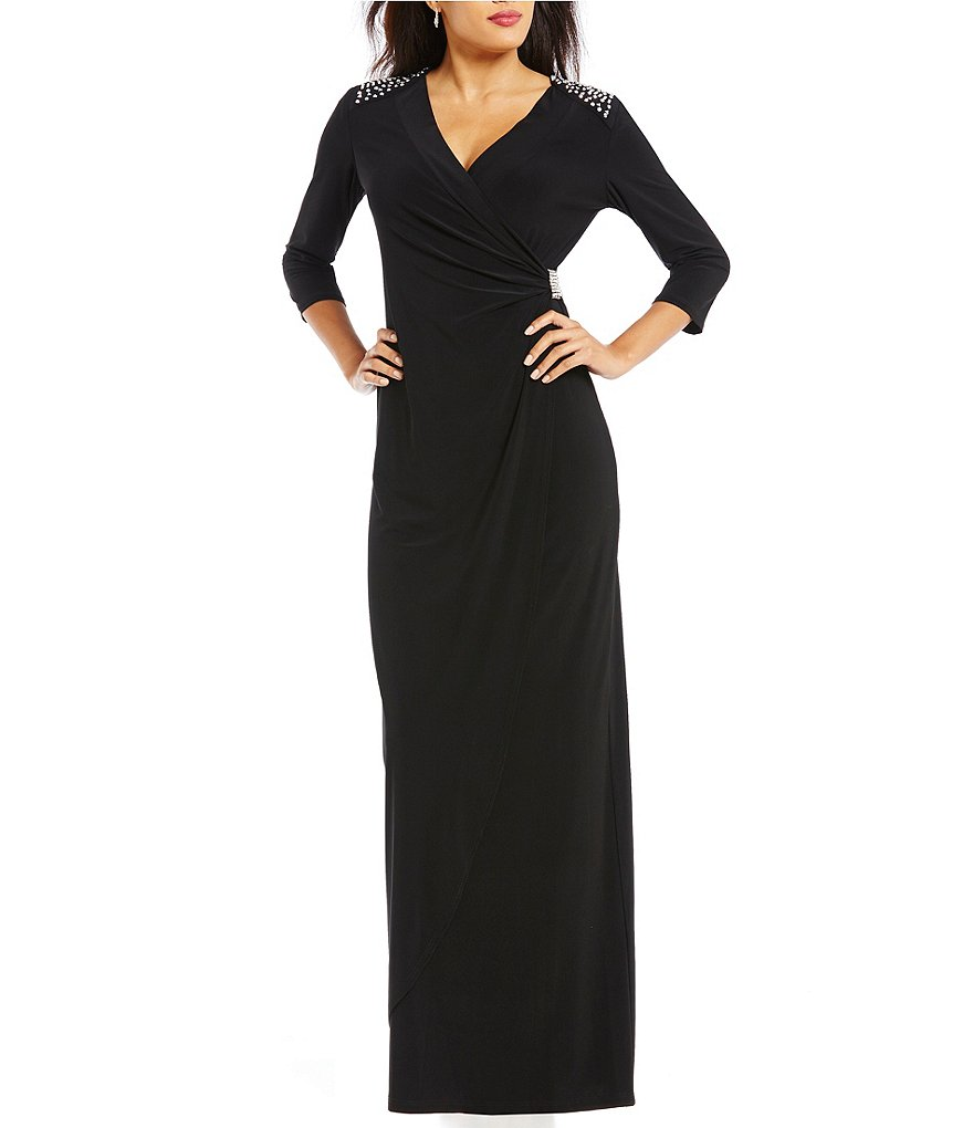 R&M Richards Bead-Shoulder Faux-Wrap Dress
