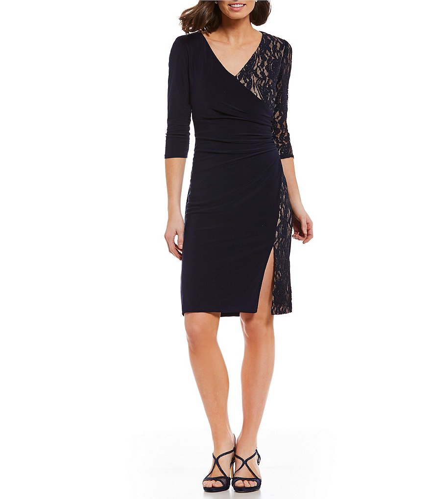 R&M Richards Faux-Wrap Contrast Lace Sheath Dress