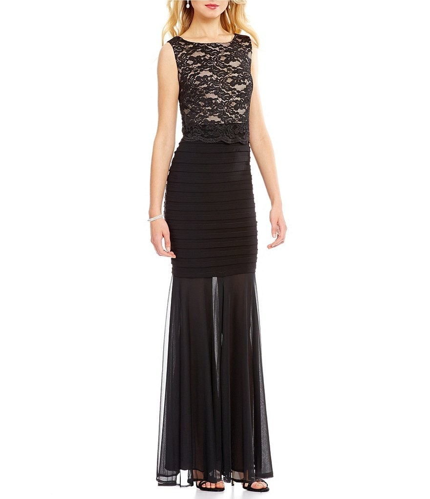 R&M Richards Lace-Bodice Popover Banded Gown