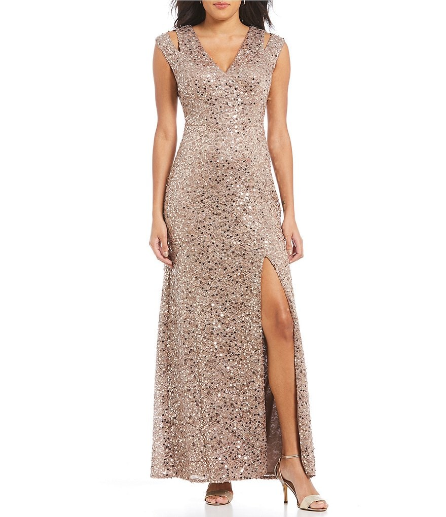 R&M Richards V-Neck Sequin Column Dress