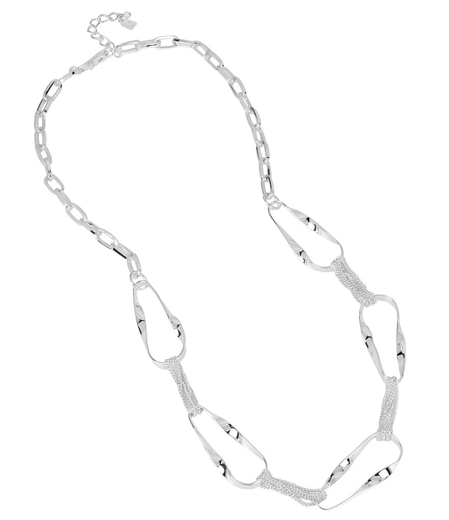 Robert Lee Morris Soho Sculptural Oval Link Long Necklace