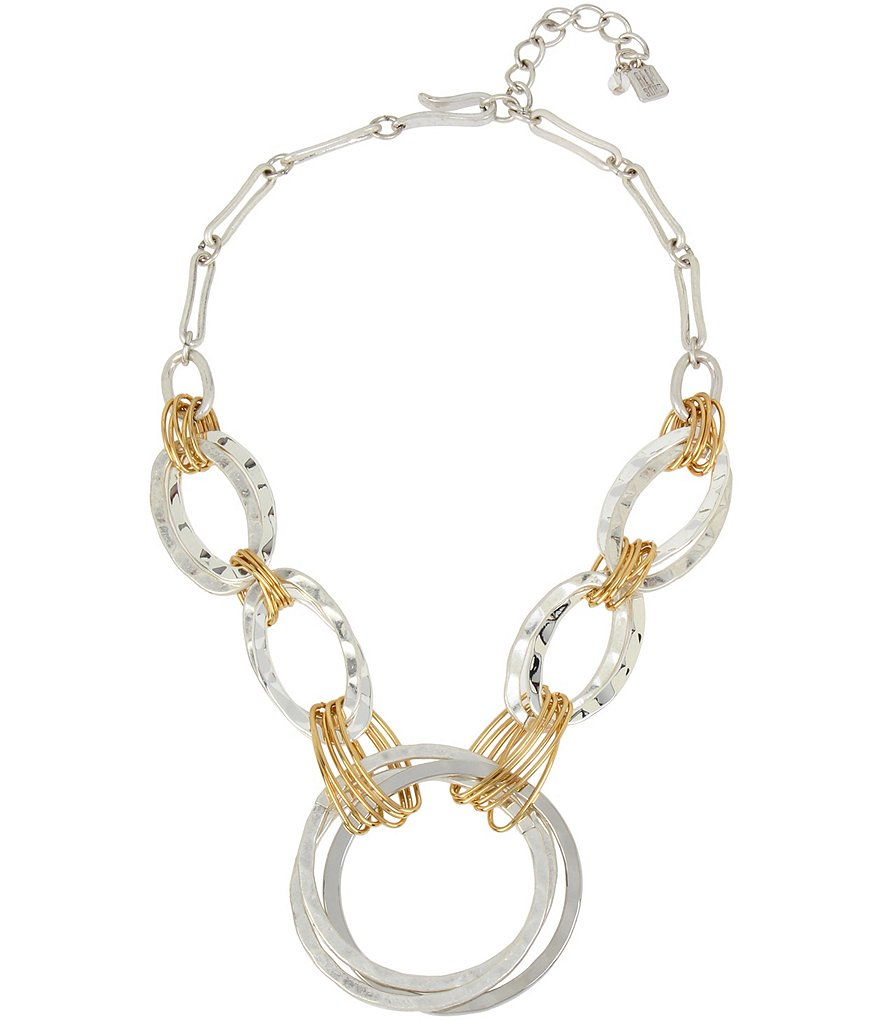 Robert Lee Morris Soho Wire-Wrapped Hammered Circle Frontal Statement Necklace