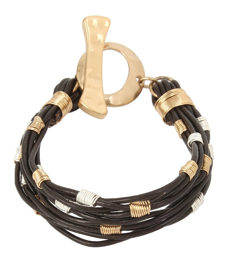Robert Lee Morris Soho Wire Wrapped Leather Cord Bracelet