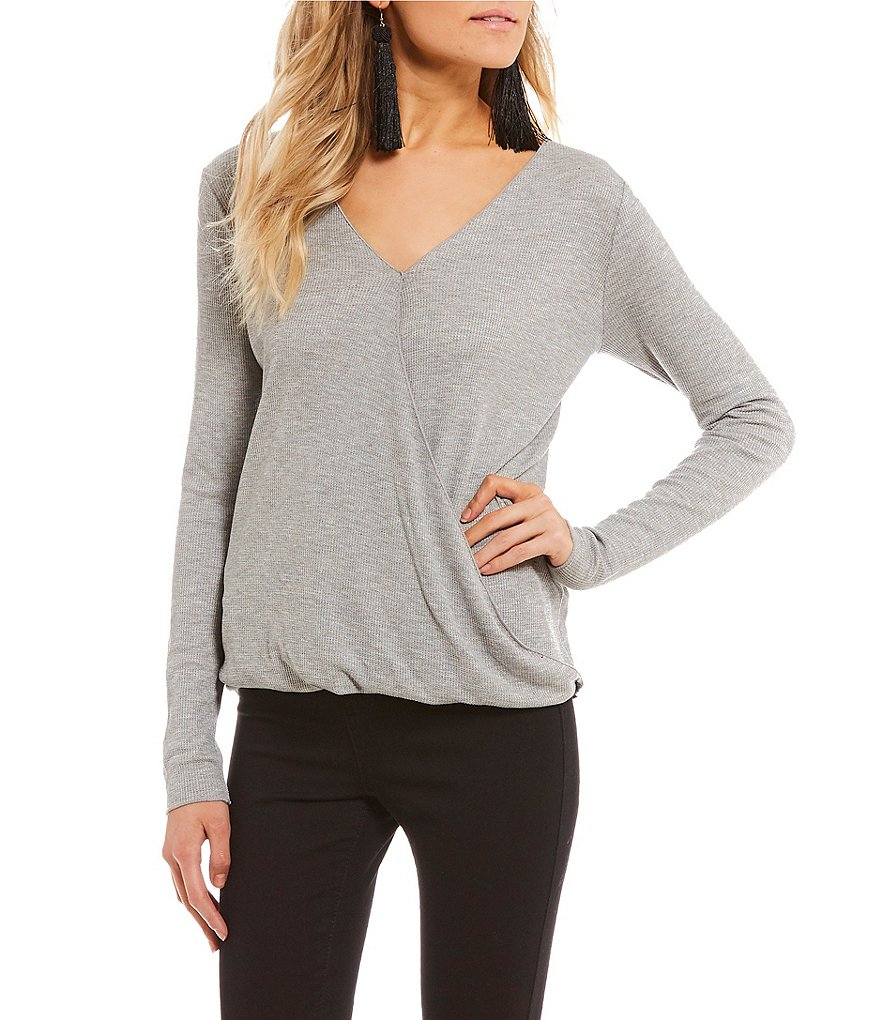 Rossmore by PPLA Beaumont Surplice Long Sleeve Ribbed Knit Top