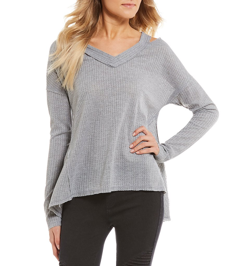 Rossmore by PPLA Corinne Cold Shoulder Waffle Knit Top