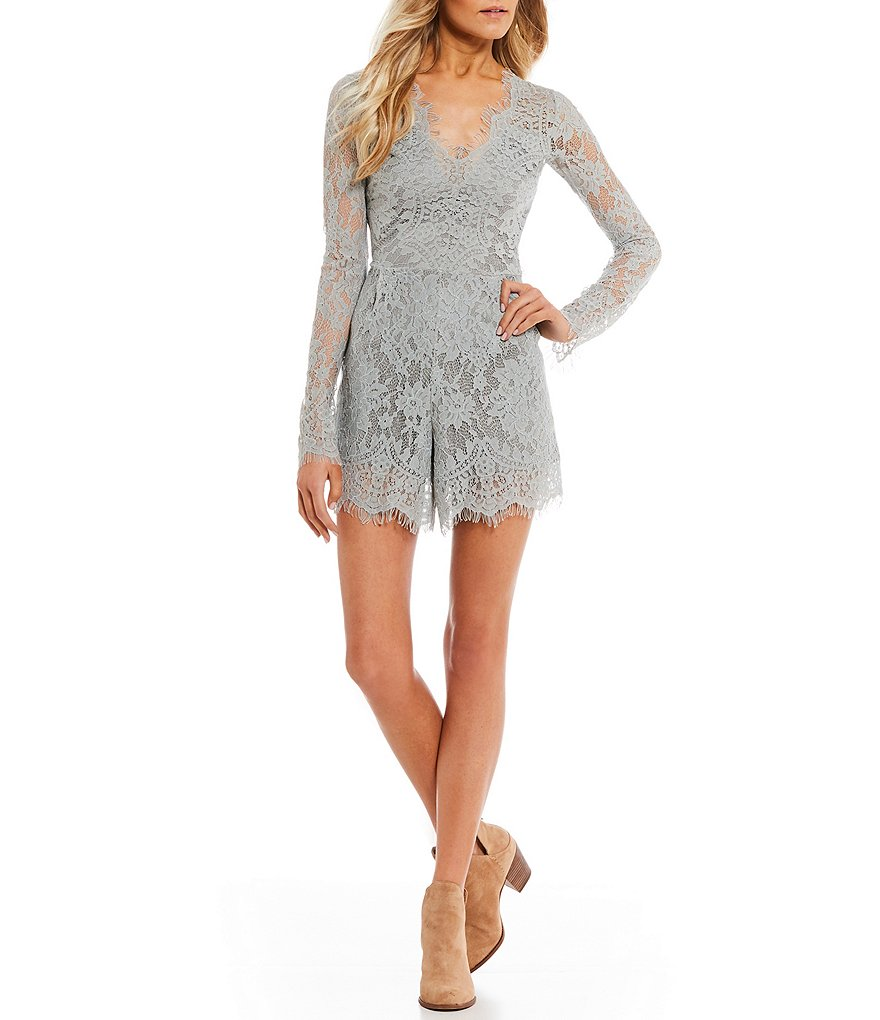 Rossmore by PPLA Ellery Embroidered Lace Long Sleeve Romper