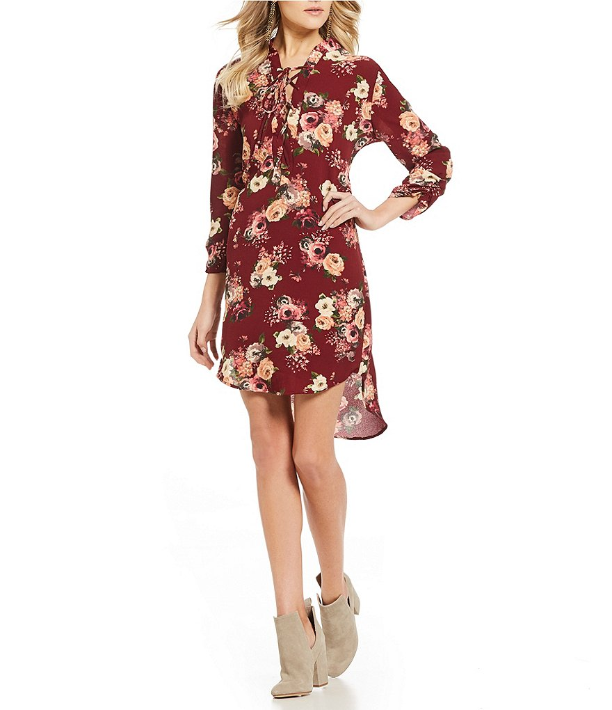 Rossmore by PPLA Finna Floral Printed Lace-Up Shift Dress