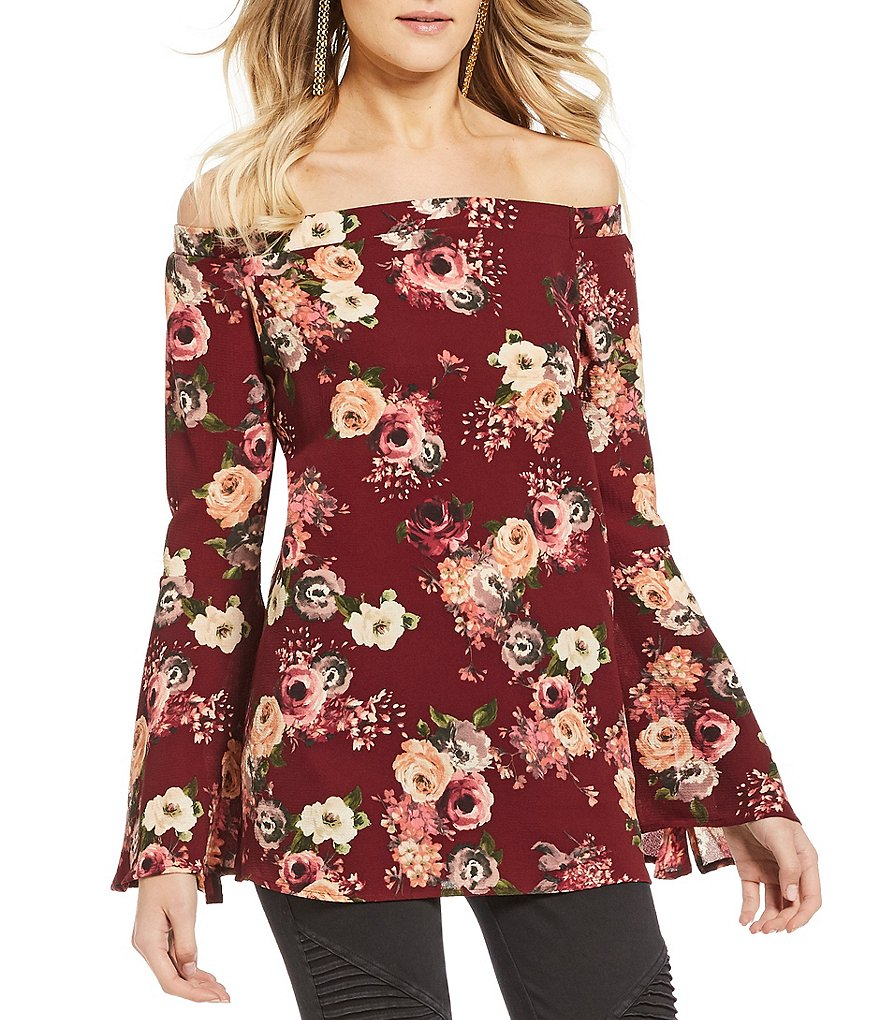 Rossmore by PPLA Flynn Floral Printed Off-The-Shoulder Bell Sleeve Top