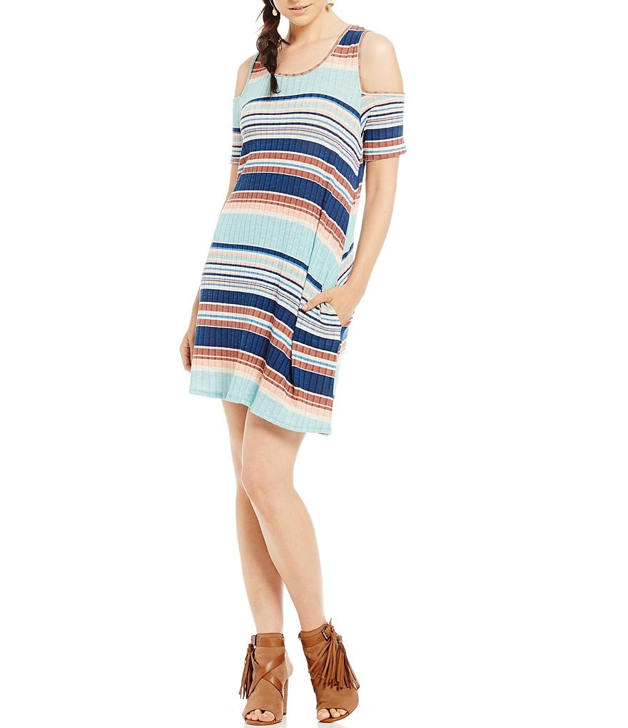 Rossmore by PPLA Louise Horizontal-Stripe Cold Shoulder Swing Knit Dress