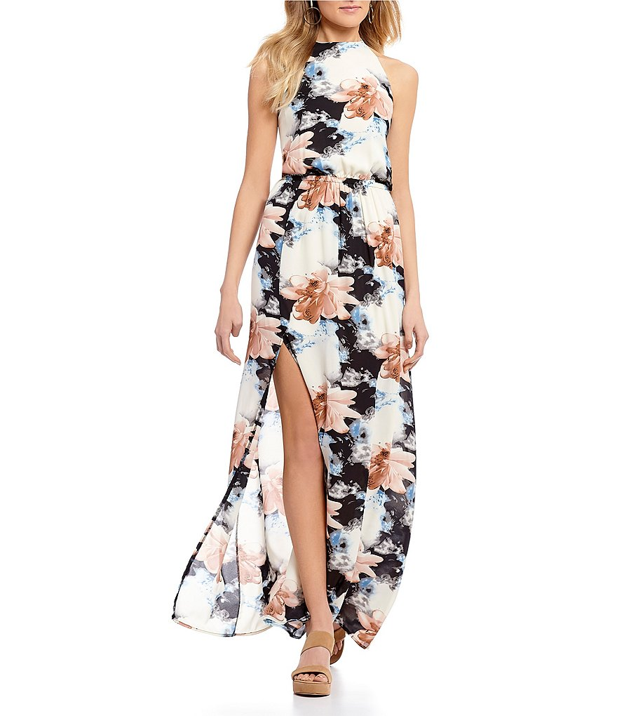 Rossmore by PPLA Merra Floral Printed High Neck Sleeveless Maxi Dress
