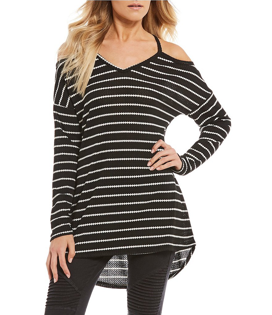 Rossmore by PPLA Nixie Stripe Cold Shoulder Waffle Knit Top