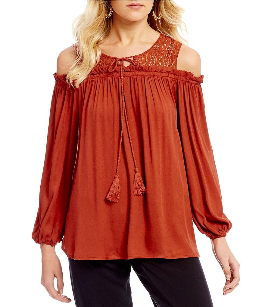 Rossmore by PPLA Polly Cold Shoulder Tie-Front Top