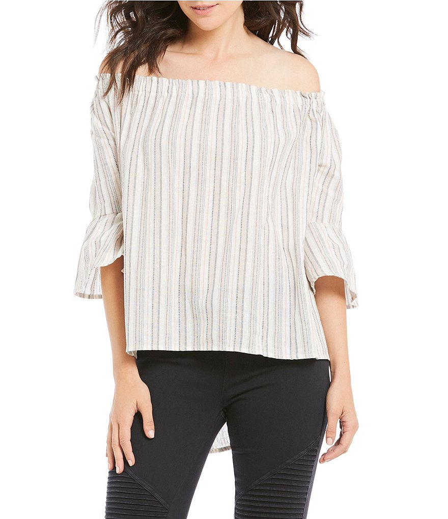 Rossmore by PPLA Portia Printed Off-The-Shoulder Bell Sleeve Top