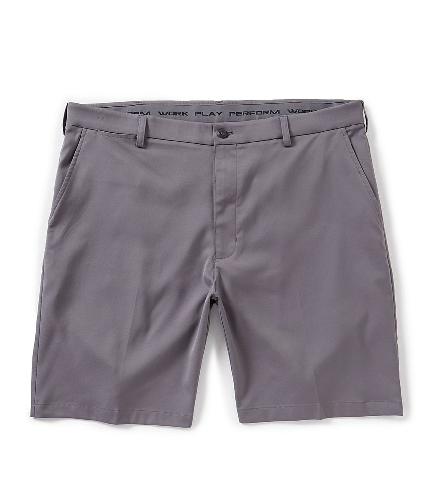 Roundtree /& Yorke Big /& Tall Pleated Washed Cotton 11 Inseam Shorts S85HR401T Light Khaki Size 42
