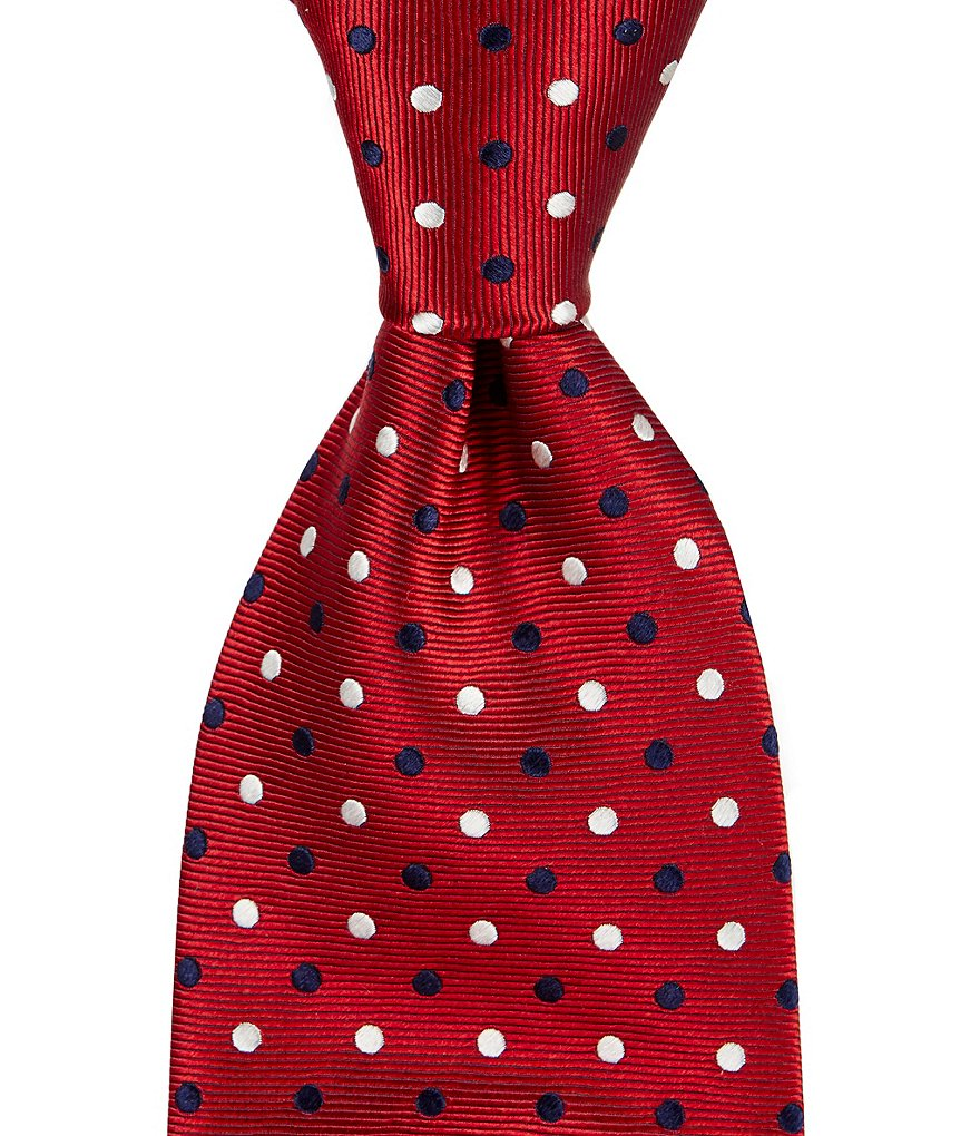 Roundtree & Yorke Big & Tall Double Dot Traditional Silk Tie