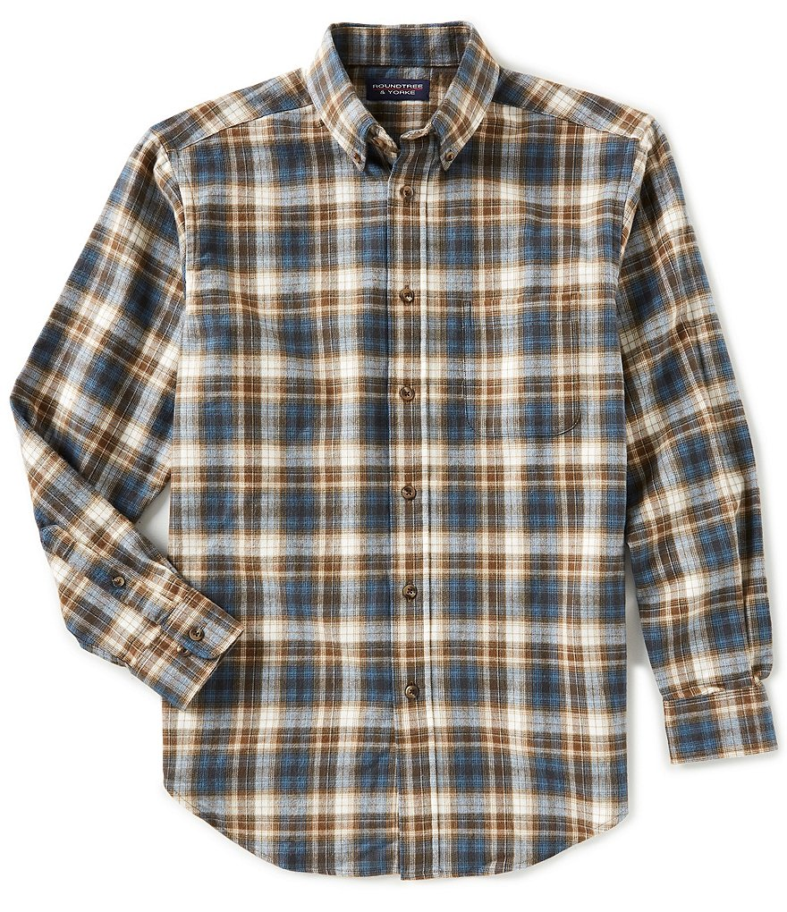 Roundtree & Yorke Big & Tall Flannel Long-Sleeve Plaid Sportshirt