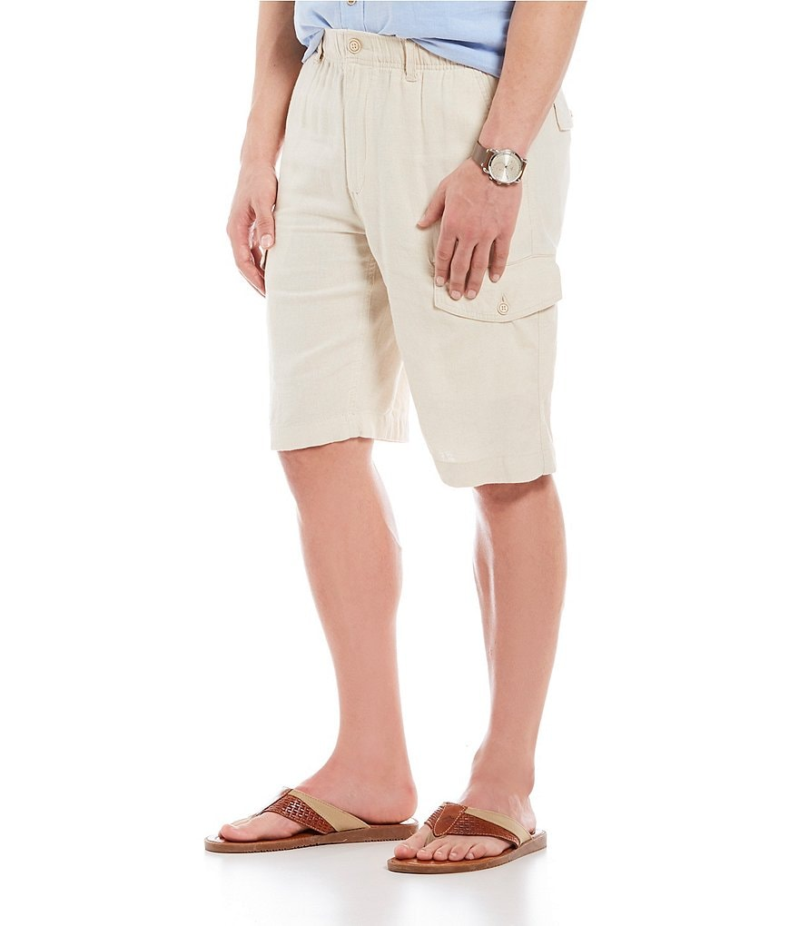 Roundtree & Yorke Big & Tall Linen Cargo Shorts