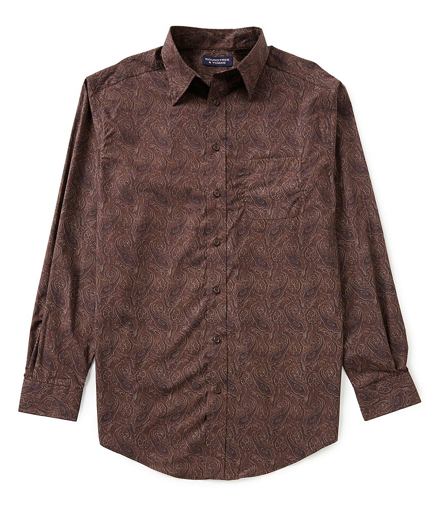 Roundtree & Yorke Big & Tall Silky Finish Long Sleeve Paisley Button-Down Sportshirt