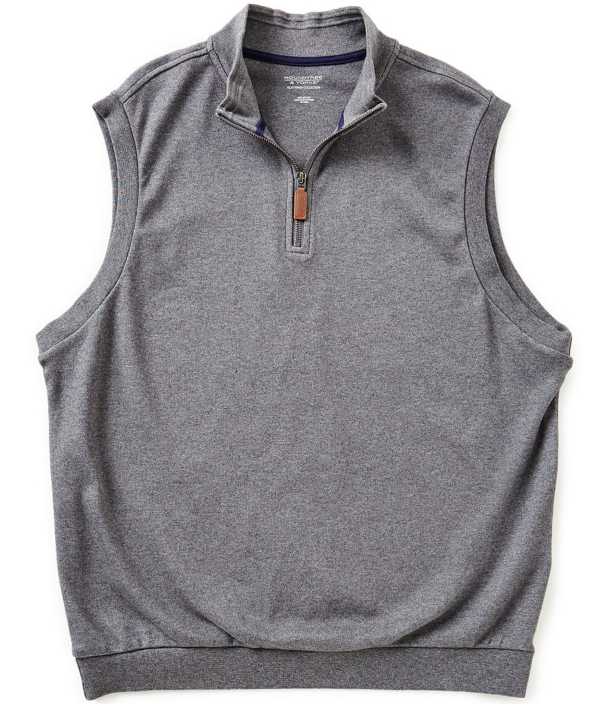 Roundtree & Yorke Big & Tall Silky Finish Quarter-Zip Solid Vest Pullover