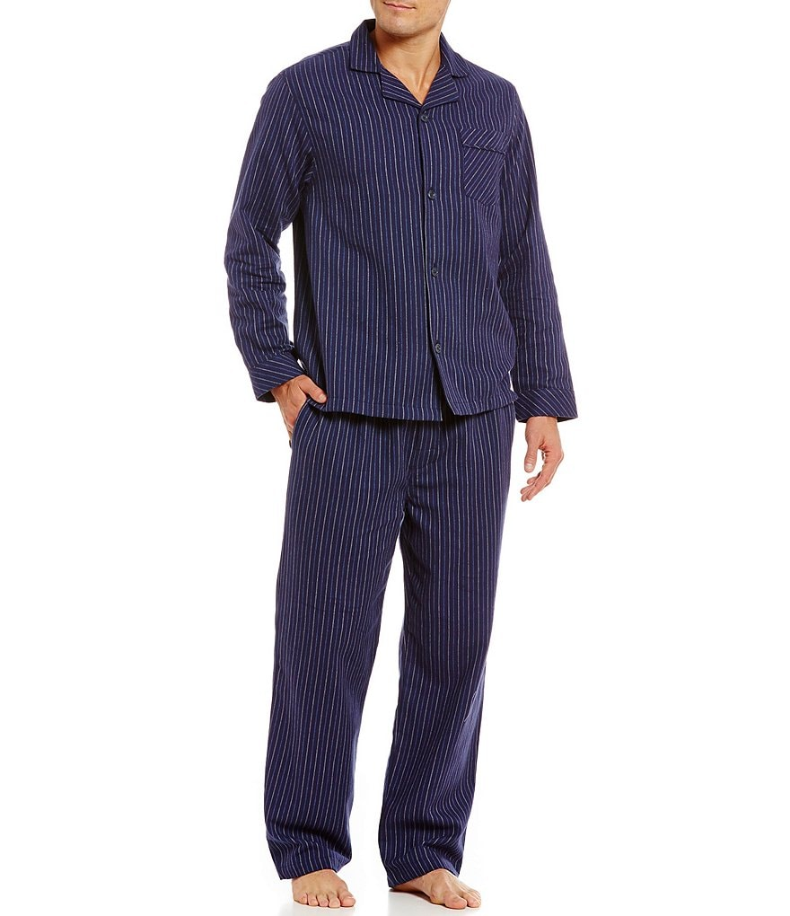 Roundtree & Yorke Big & Tall Striped Flannel Pajama Set