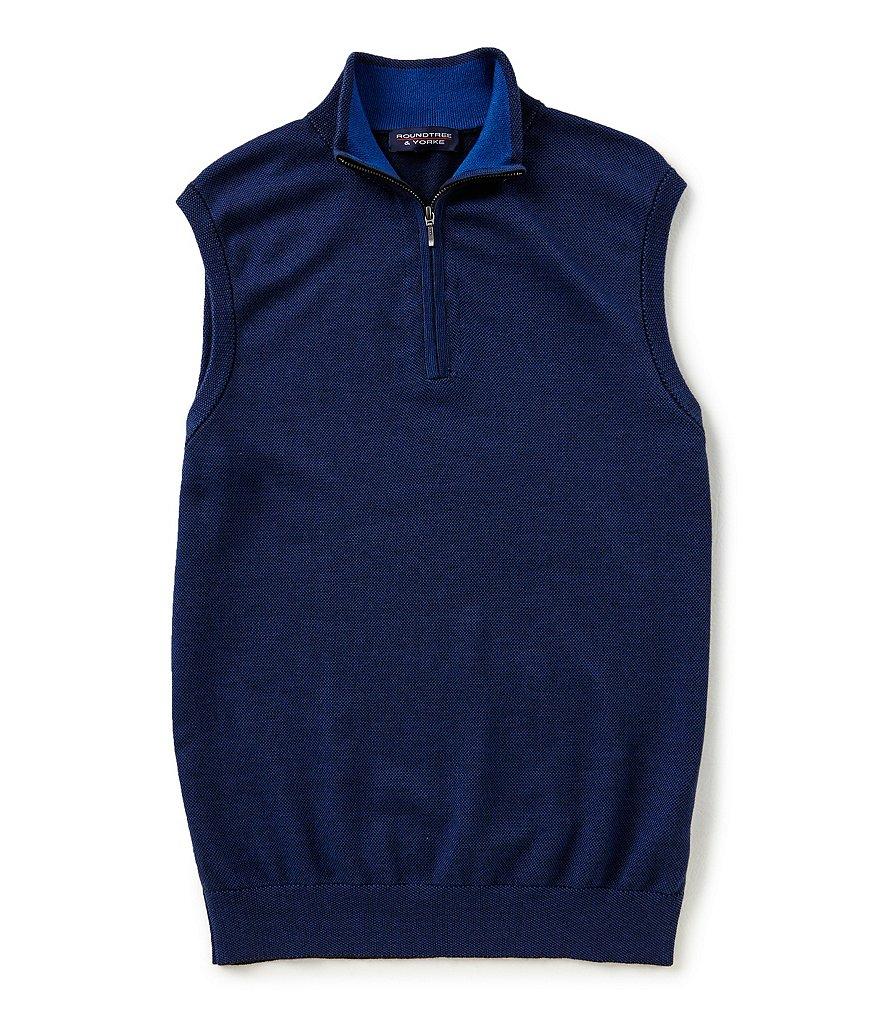 Roundtree & Yorke Birdseye Quarter-Zip Sweater Vest | Dillards