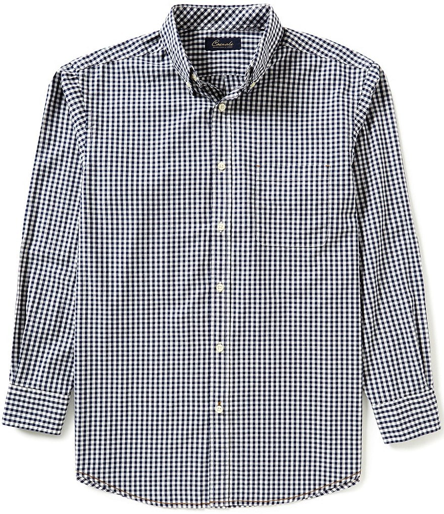 Roundtree & Yorke Casuals Long-Sleeve Gingham Sportshirt