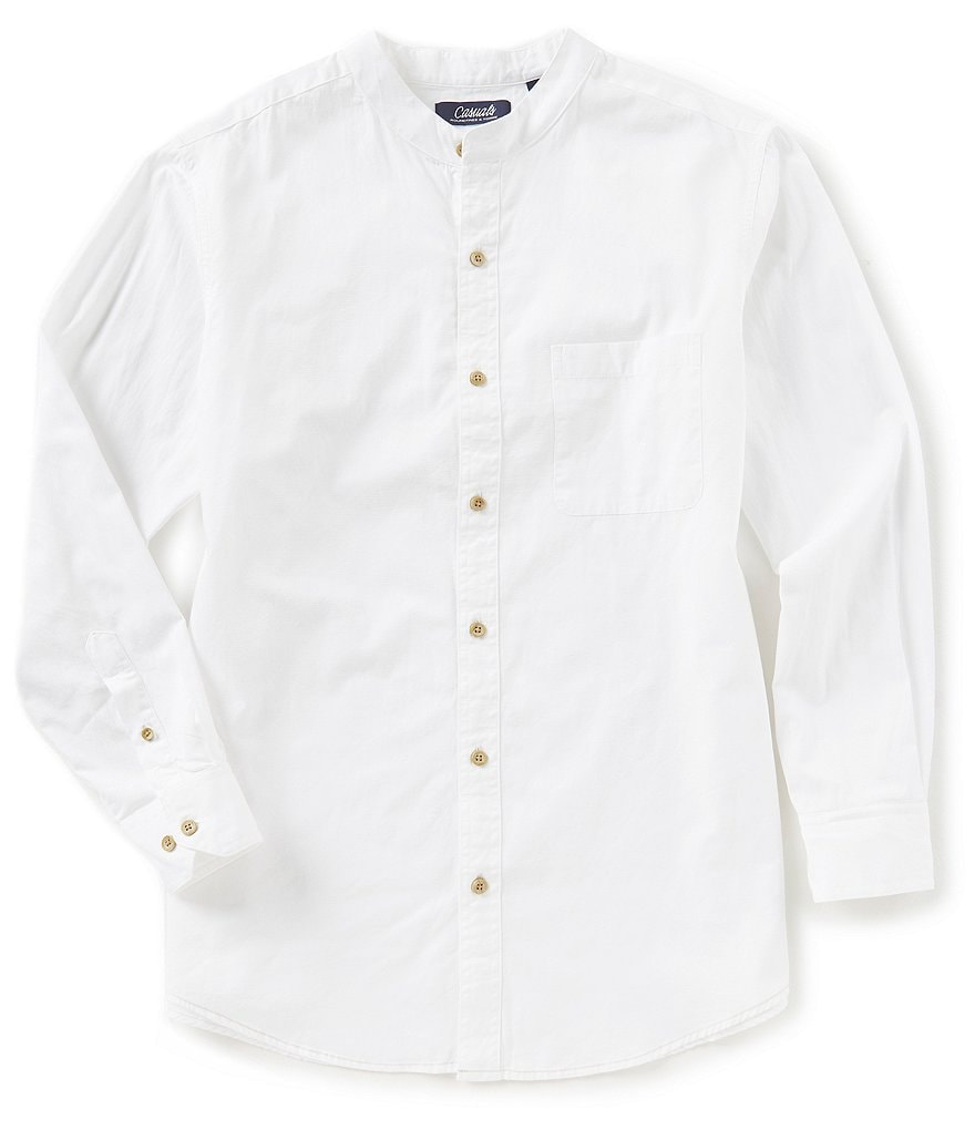Roundtree & Yorke Casuals Banded Collar Long-Sleeve Solid Sportshirt