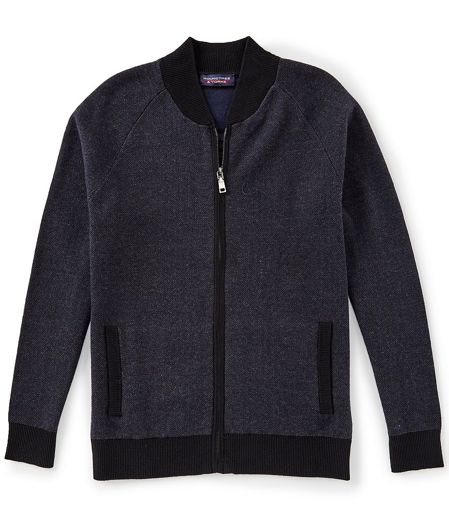Roundtree & Yorke Full-Zip Baseball Style Cardigan Sweater
