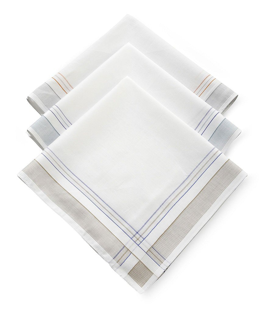 Roundtree & Yorke Imperial Assorted Cotton Handkerchiefs 3-Pack