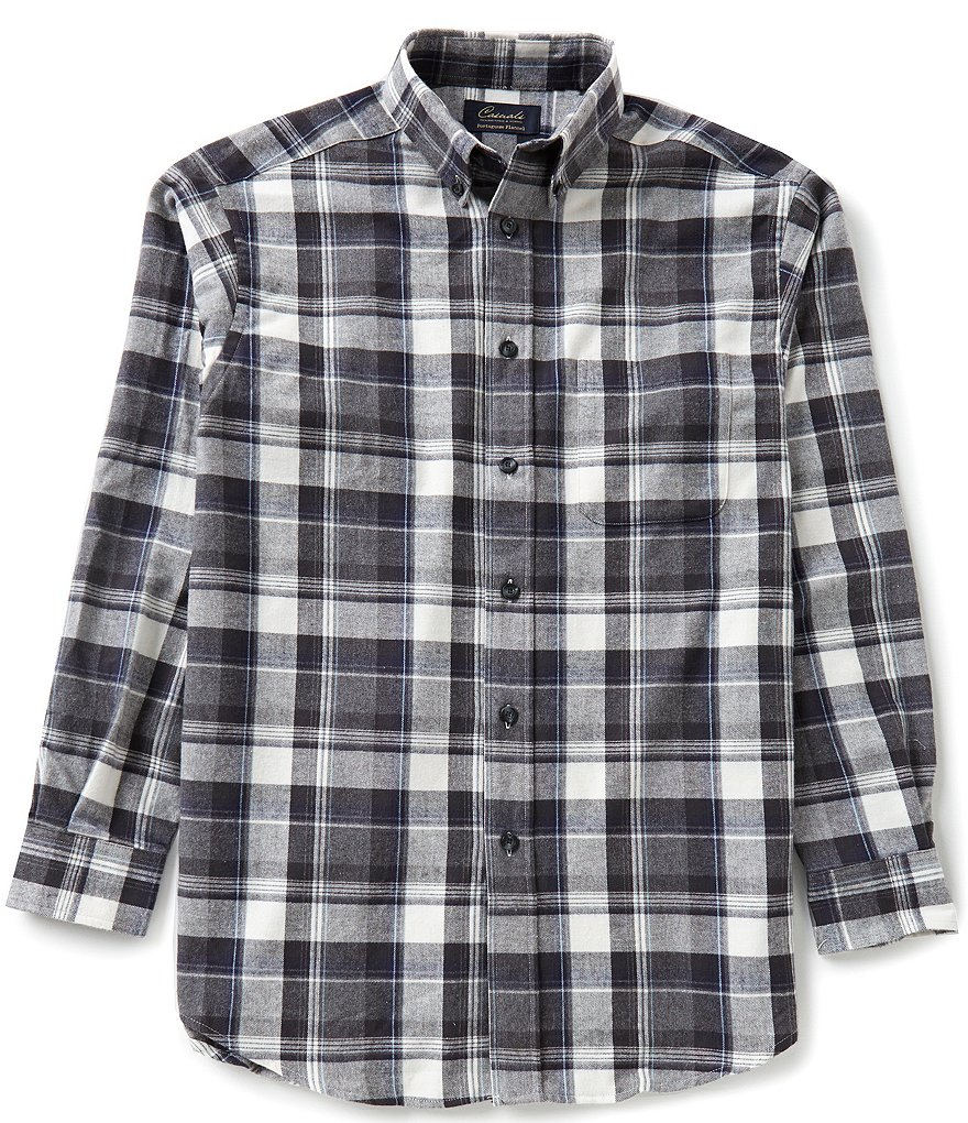 Roundtree & Yorke Long-Sleeve Large Plaid Flannel Sportshirt