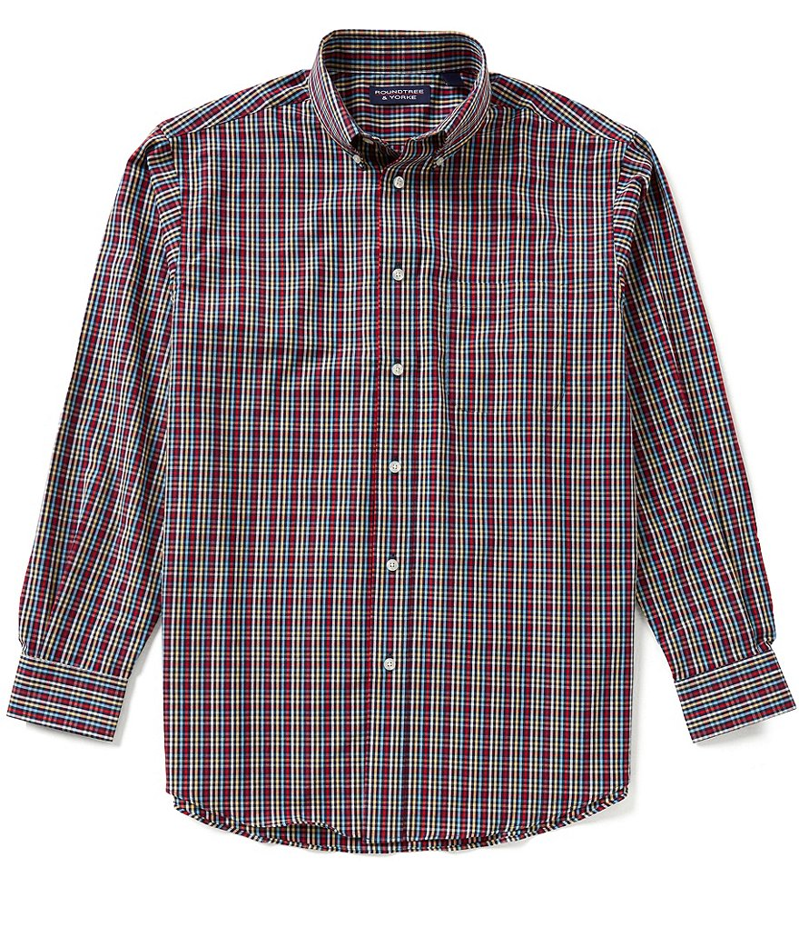 Roundtree & Yorke Long-Sleeve Multi Check Sportshirt
