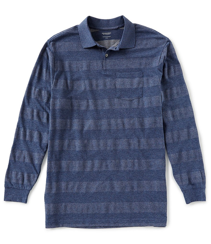 Roundtree & Yorke Long-Sleeve Striped Herringbone Polo