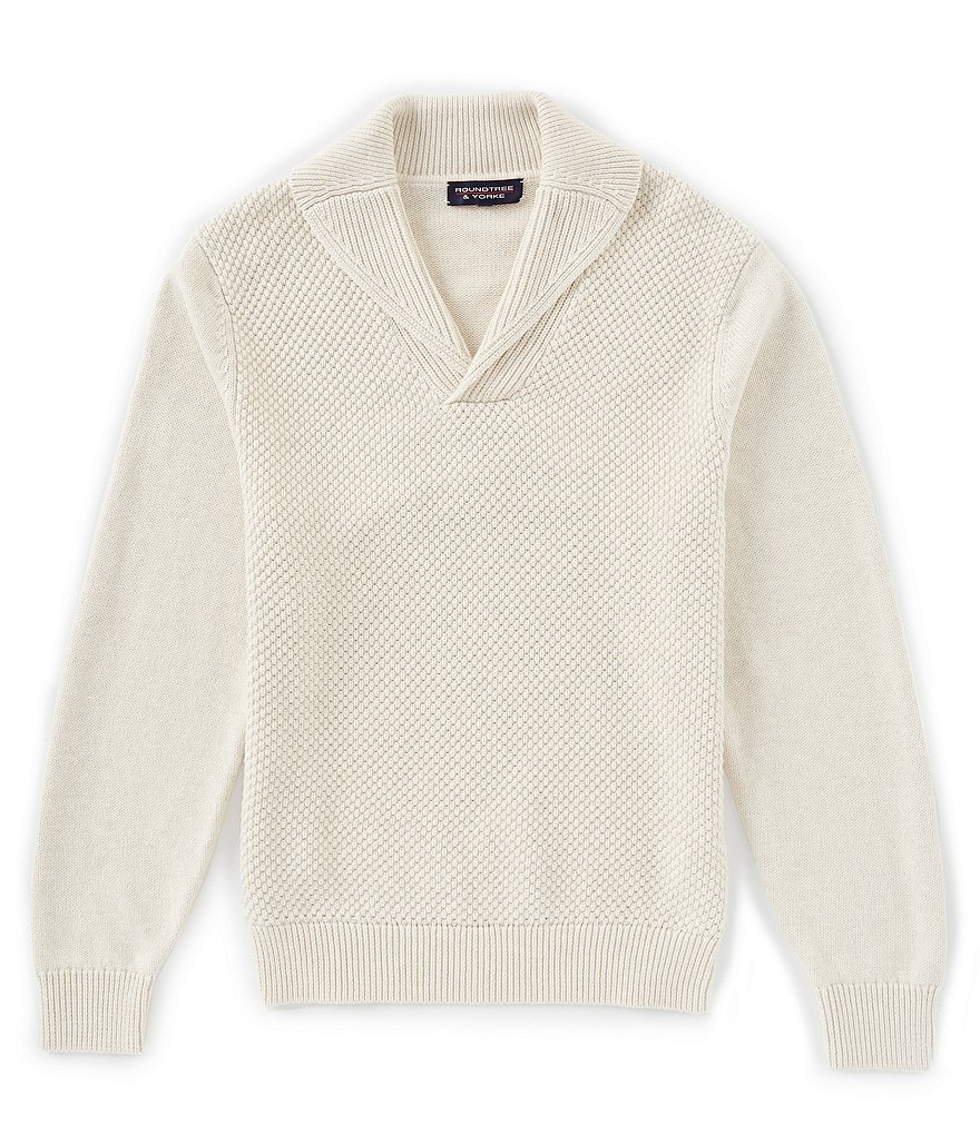 Roundtree & Yorke Long-Sleeve Textured Shawl-Collar Pullover Sweater