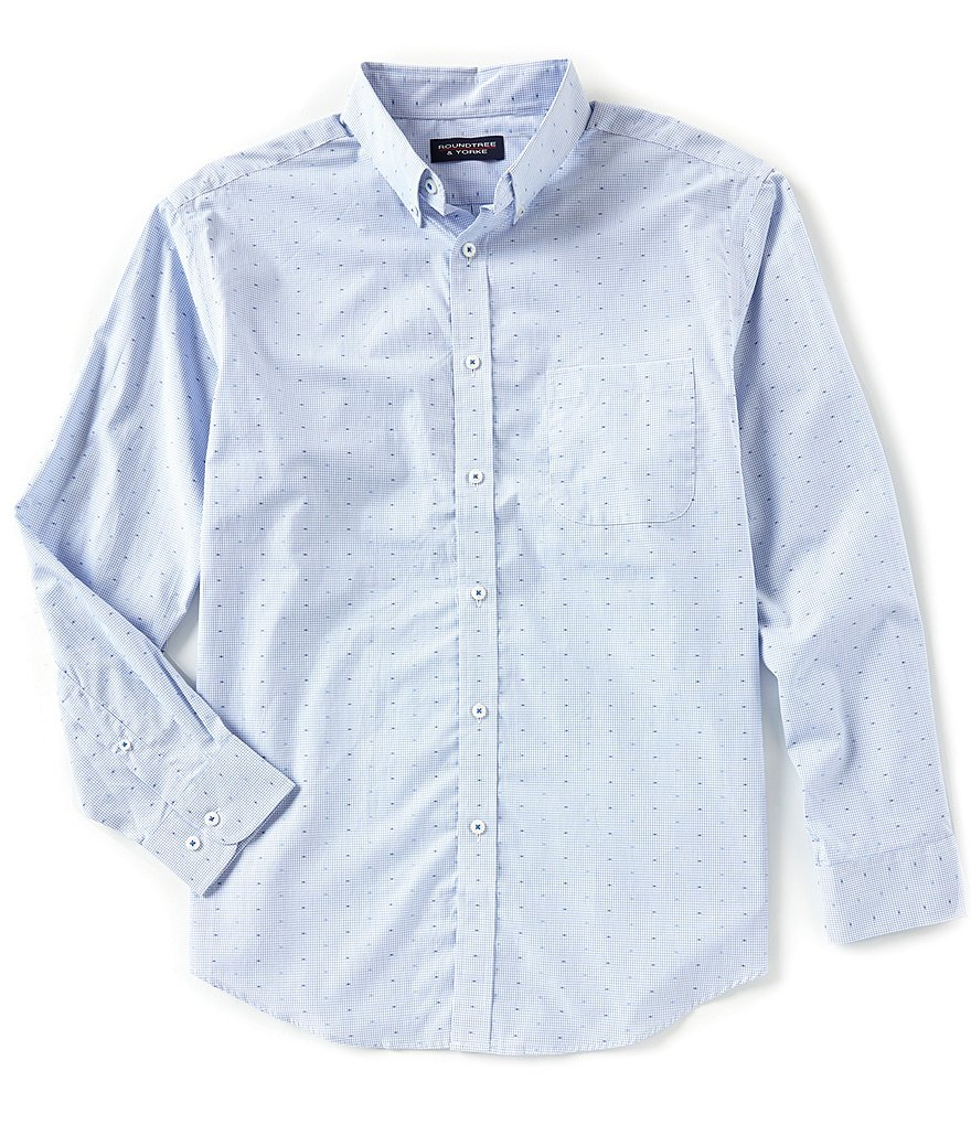 Roundtree & Yorke Luxury Cotton Long-Sleeve Clipped Dobby Sportshirt