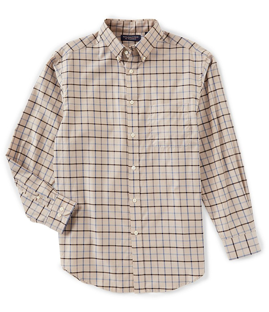 Roundtree & Yorke Luxury Cotton Long-Sleeve Windowpane Sportshirt