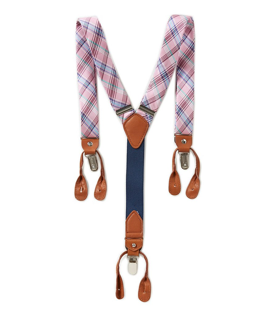 Roundtree & Yorke Plaid Suspenders