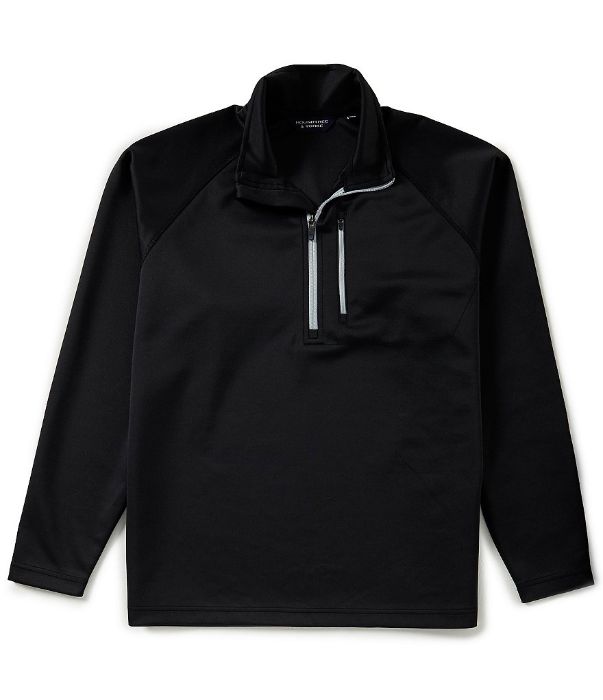 Roundtree & Yorke Quarter Zip Contrast Pullover Sweater