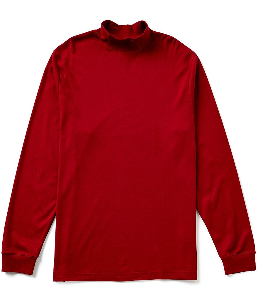 Roundtree & Yorke Silky Finish Big & Tall Long Sleeve Solid Mockneck