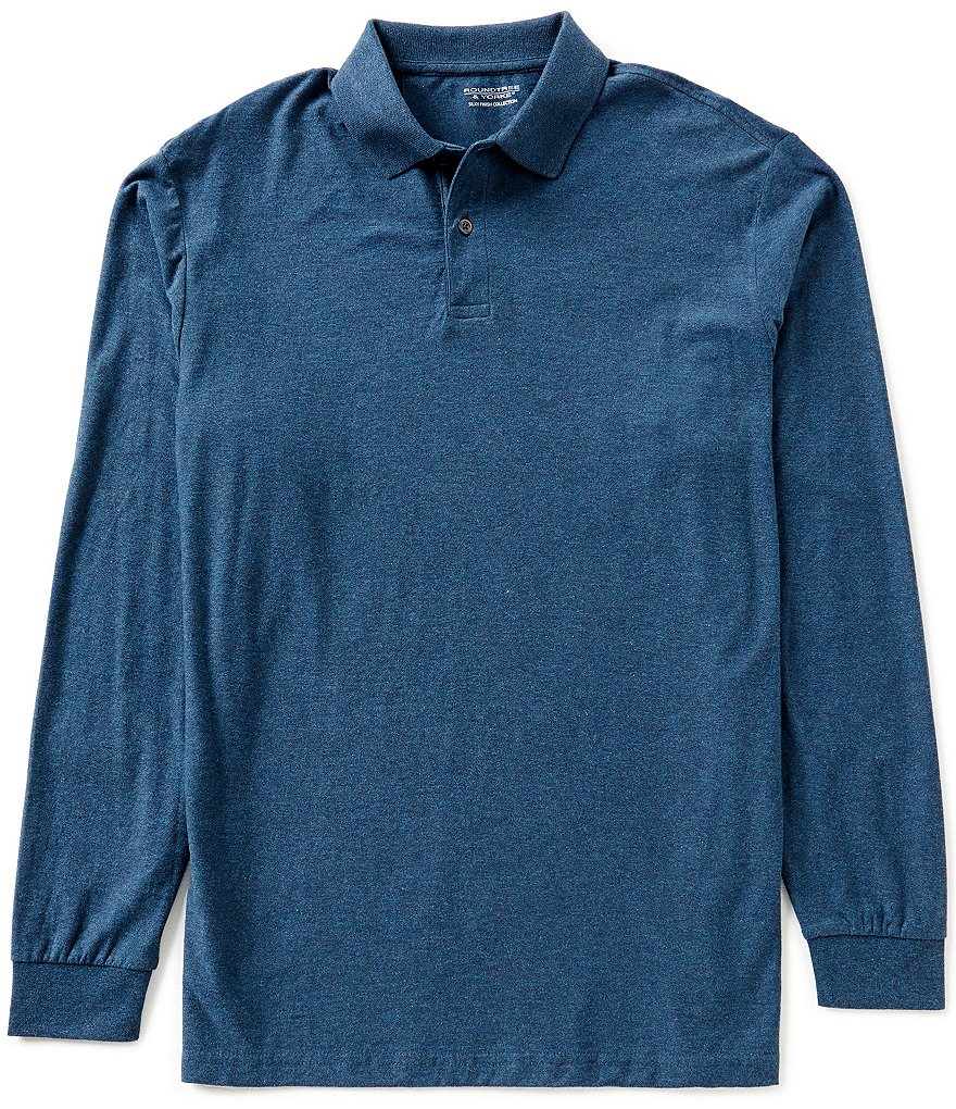 Roundtree & Yorke Silky Finish Long-Sleeve Solid Heathered Polo Shirt