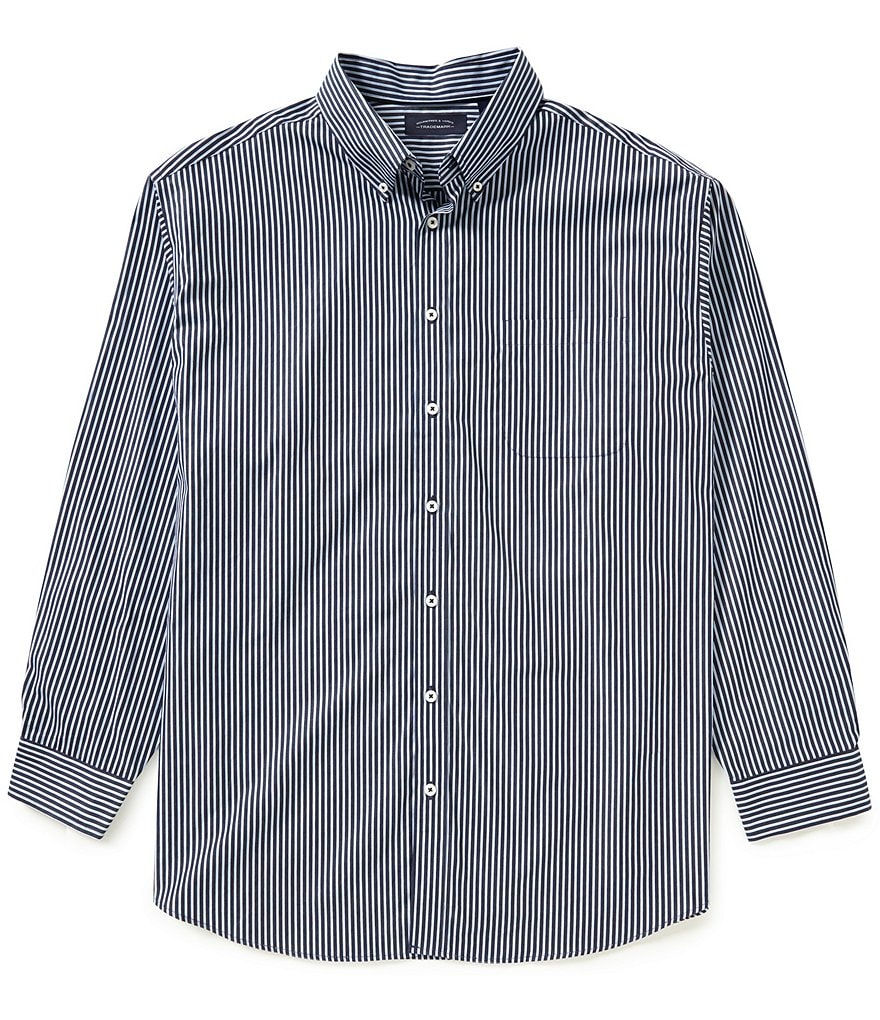 Roundtree & Yorke Trademark Big & Tall Yarn-Dyed Stripe Sportshirt