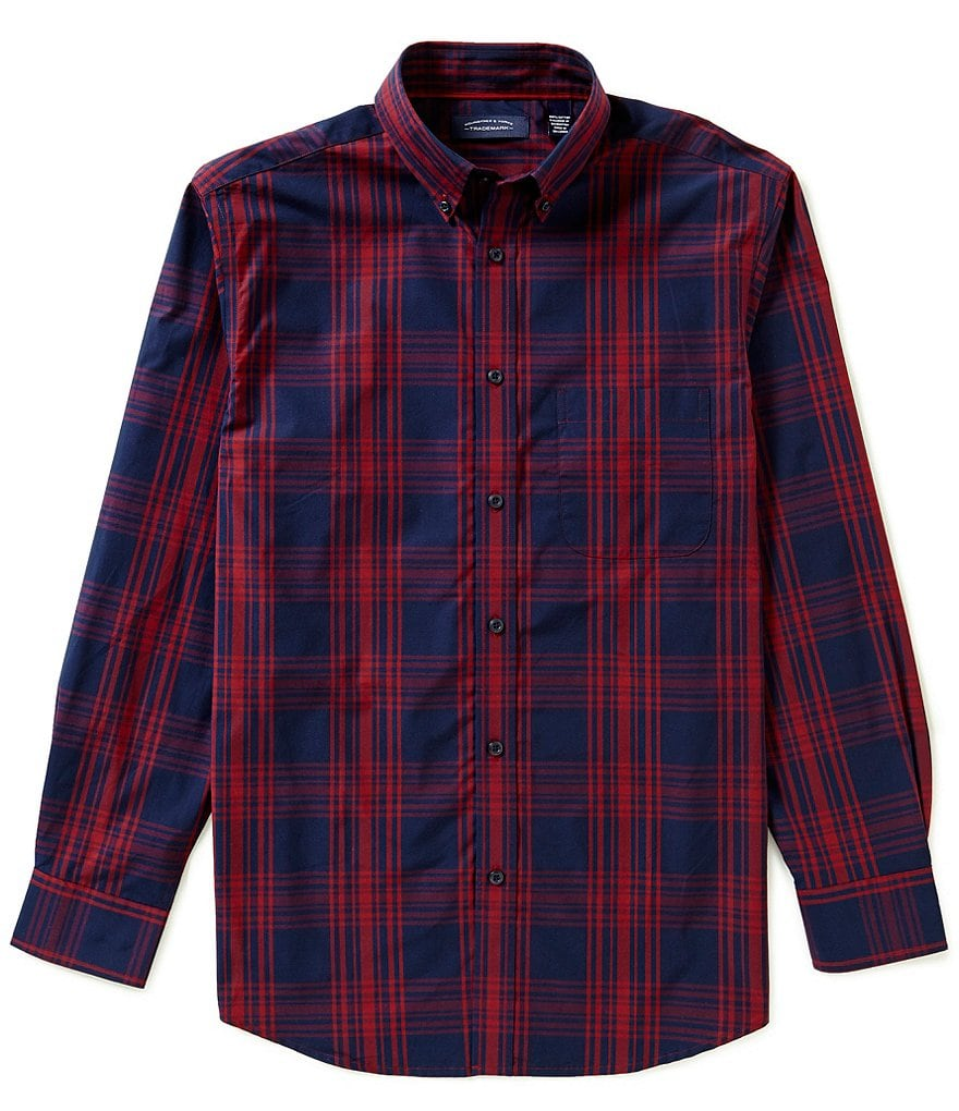 Roundtree & Yorke Trademark Long Sleeve Plaid Woven Sportshirt