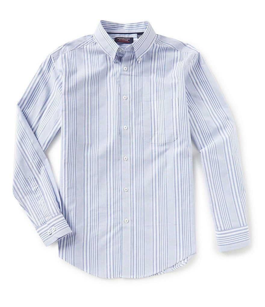 Roundtree & Yorke Trademark Long-Sleeve Striped Sportshirt