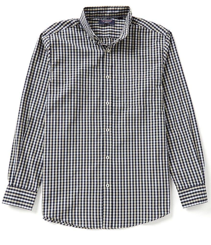 Roundtree & Yorke Trim-Fit Long-Sleeve Gingham Sportshirt