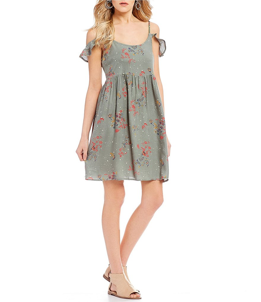 Roxy Do It My Way Floral Printed Cold Shoulder Ruffle Swing Dress